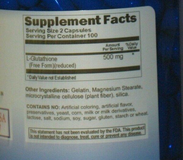 L-Glutathione Amino Acid 500 mg   Free Form - Reduced 200 Capsules  1
