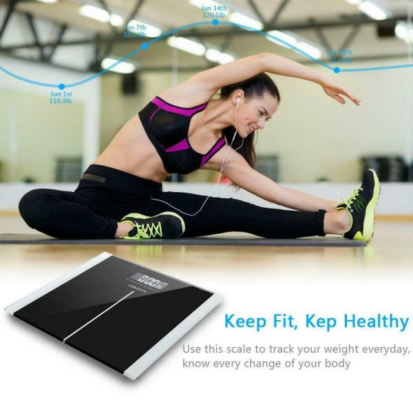 400lb Digital Body Weight Scale Bathroom Fitness Backlit LCD 180kg + 2 Battery 7