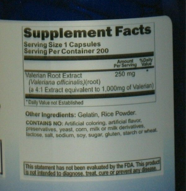 Valerian Root 1000mg 200 Capsules Max Strength  Relax, Sleep, Herb  1