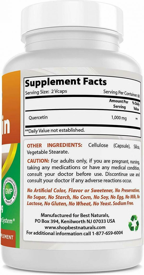 Best Naturals Quercetin 1000 mg/Serving 120 Veggie Capsules  4