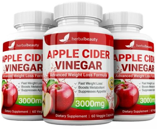 3 x Herbal Beauty APPLE CIDER VINEGAR Pills 3000mg WEIGHT LOSS 180 CAPSULES USA 3