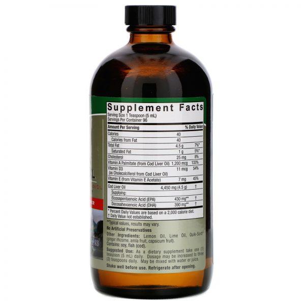 Liquid Norwegian Cod Liver Oil, Natural Lemon-Lime Flavor, 16 fl oz (480 ml) 1