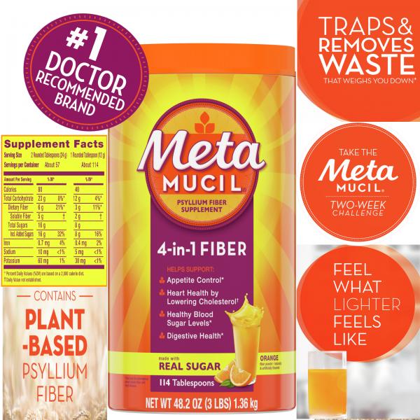 Metamucil Psyllium Fiber Supplement Powder, Sugar, Orange, 114 Tbsp