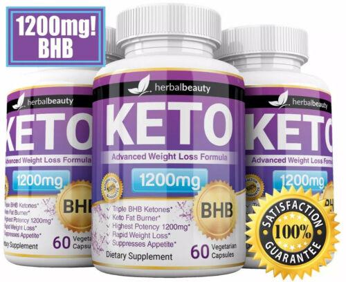 Herbal Beauty KETO BHB 1200mg PURE Ketone FAT BURNER Weight Loss Diet Pills 10