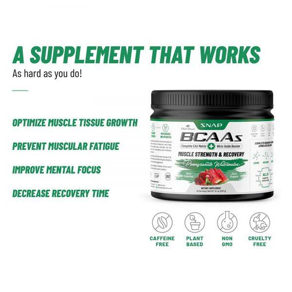 BCAA Powder | Nitric Oxide Booster  Essential Amino Acids Pomegranate Watermelon 8
