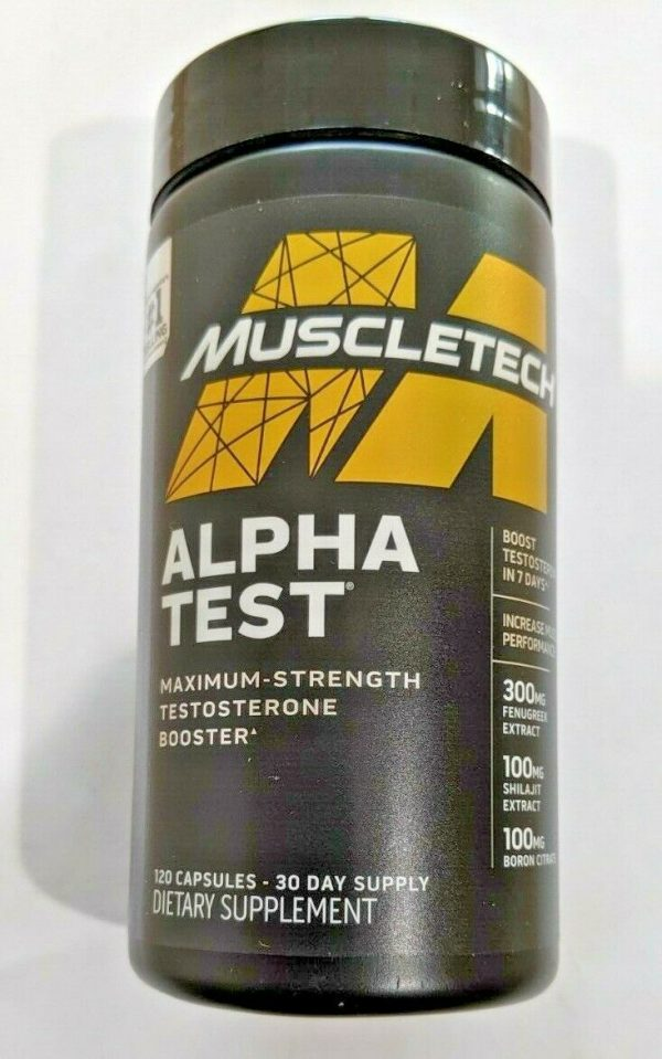 Muscle Tech  Alpha Test  Test Booster .120 Capsules. Free Shipping 1