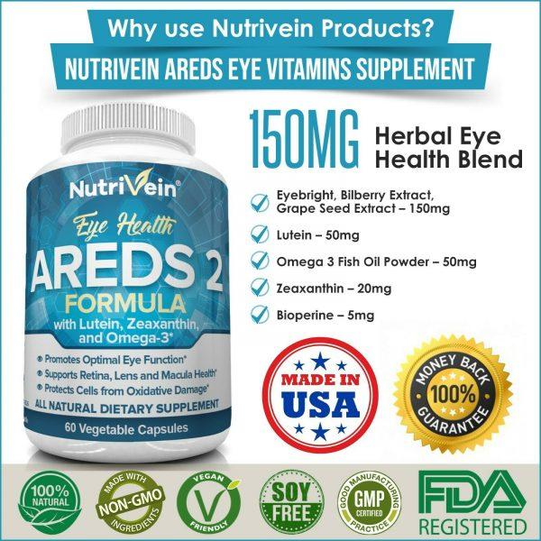 Nutrivein AREDS 2 Eye Vitamins - Supports Eye Strain Dry Eyes - Eye Health Boost 8