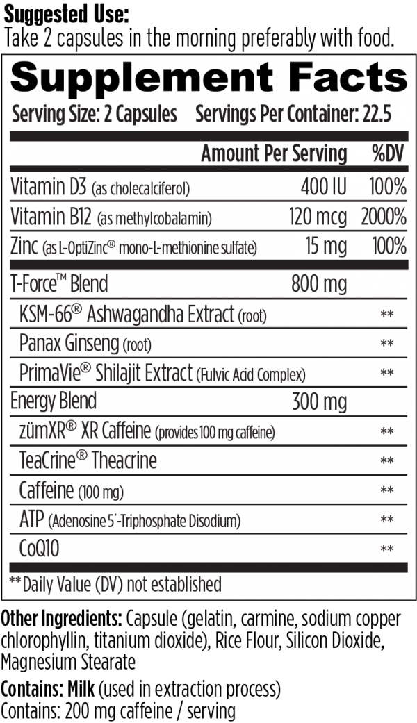 WORKFORCE Energy Supplement KSM-66 Ashwagandha ZumXR Caffeine Zinc Immune 4/2021 1