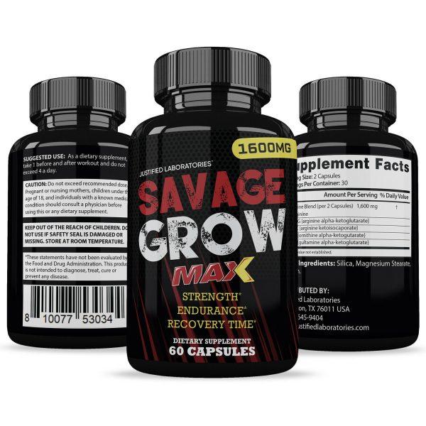 Savage Grow Max 1600MG Male Enhancement Increase Strength Stamina Energy 60 Caps 4