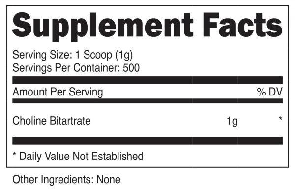Nutricost Choline Bitartrate (500G) Unflavored - Gluten Free & Non-GMO 1