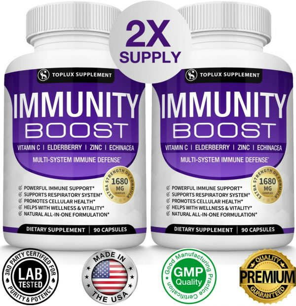 PREMIUM Immune System Booster (180 CAPSULE) Vitamin C +Zinc+Elderberry+Echinacea 1