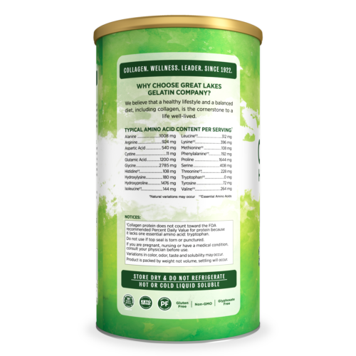 Great Lakes Gelatin, Beef Collagen Hydrolysate, Unflavored, 16 Oz Can 2