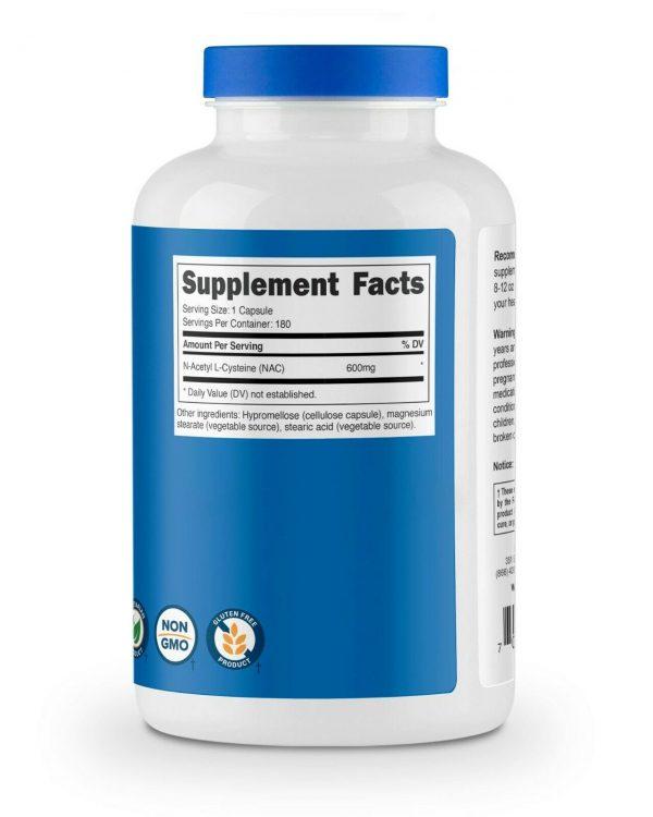 Nutricost N-Acetyl L-Cysteine (NAC) 600mg, 180 Capsules - Non-GMO & Gluten Free 4