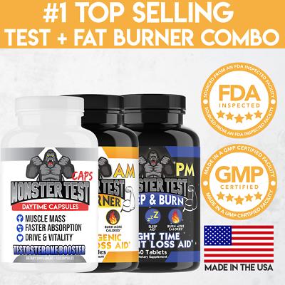 Monster Test Men's Testosterone Booster, Fat Burner Weight Loss Diet Pills 3PK