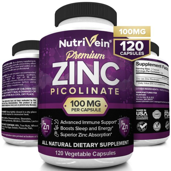 Nutrivein Zinc Picolinate 100mg - 120 Capsules - Immunity Defense Max Strength