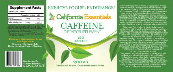 ENERGY-FOCUS-ENDURANCE PILLS -200mg CALIFORNIA ESSENTIALS CAFFEINE 2