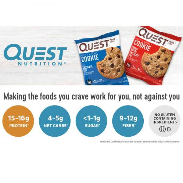 High Protein Cookies Quest 12 Pack 4 Flavors Low Carb Keto Friendly Gluten Free 7