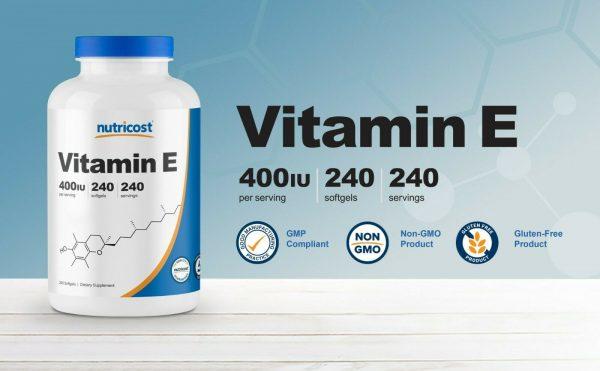 Nutricost Vitamin E 400 IU - 240 Soft Gel Capsules 3