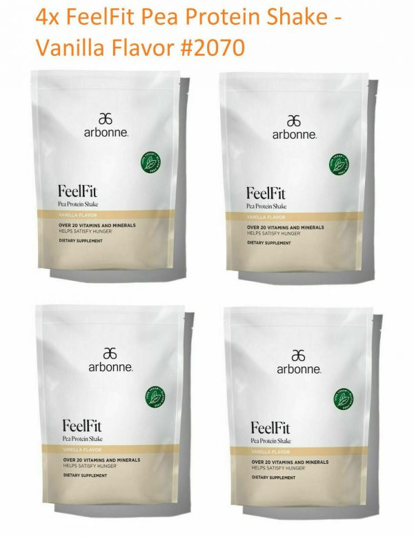 4 x Arbonne FeelFit Pea Protein Shake-Vanilla Flavor #2070 EXP:6/2022 or Later
