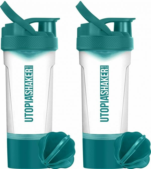 2 Pack Blender Bottle Classic 24 oz. Shaker Mixer Cup Twist and Lock Utopia Home 2