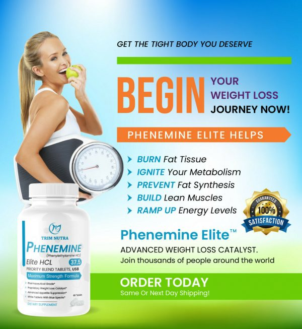 Phenemine Elite Best 37.5 P White/Blue Tabs Slimming Diet Pills That Work 375 P 1
