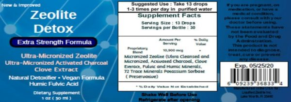 Liquified Zeolite Liquid Natural Detox Extra Strength 1 Oz Glass Bottle 1