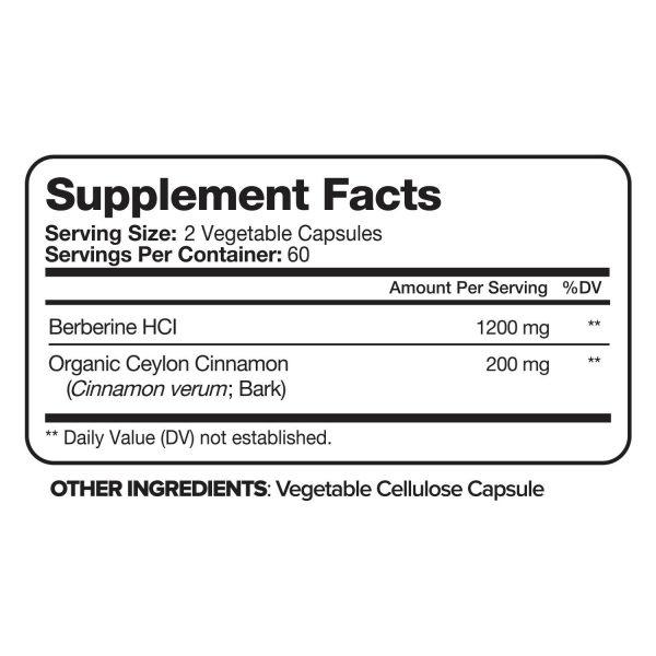Nutrivein Premium Berberine HCL 1200mg Plus Organic Ceylon Cinnamon - 120 Pills 2