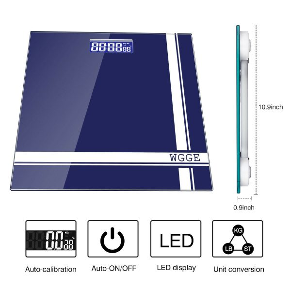 Digital Body Weight Scale,WGGE Bathroom Scale with Backlit LCD Display Max:400lb 1
