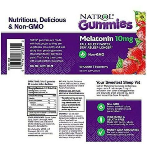 Natrol Melatonin 10mg Gummies.Strawberry Flavor-90ct(1pack).Fast Free Shipping!! 1