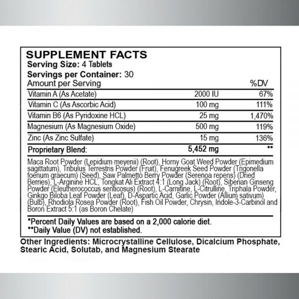 Testosterone Booster Monster Test w- Vitamin C + Monster Test Nitric Oxide 2-PK  2