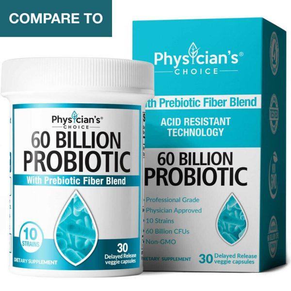 BULKPROBIOTICS Physician's Choice Probiotic 60 Billion CFU 10 Strain VEGAN