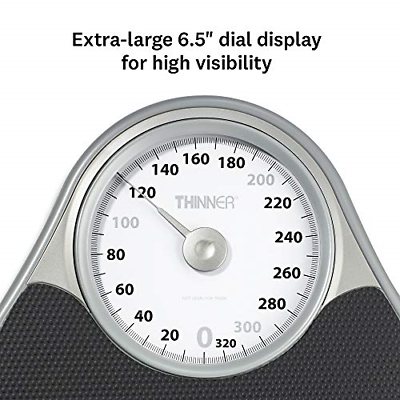Thinner Extra-Large Dial Analog Precision Bathroom Scale, Analog Bath Scale, Up 1