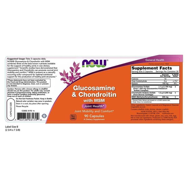 NOW FOODS Glucosamine & Chondroitin w/ MSM 90 Caps Joint Health Soother - FRESH 1