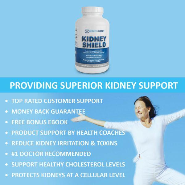 Kidney Shield Supplement Health Renal Detoxing Function Cleansing Omega 3  4