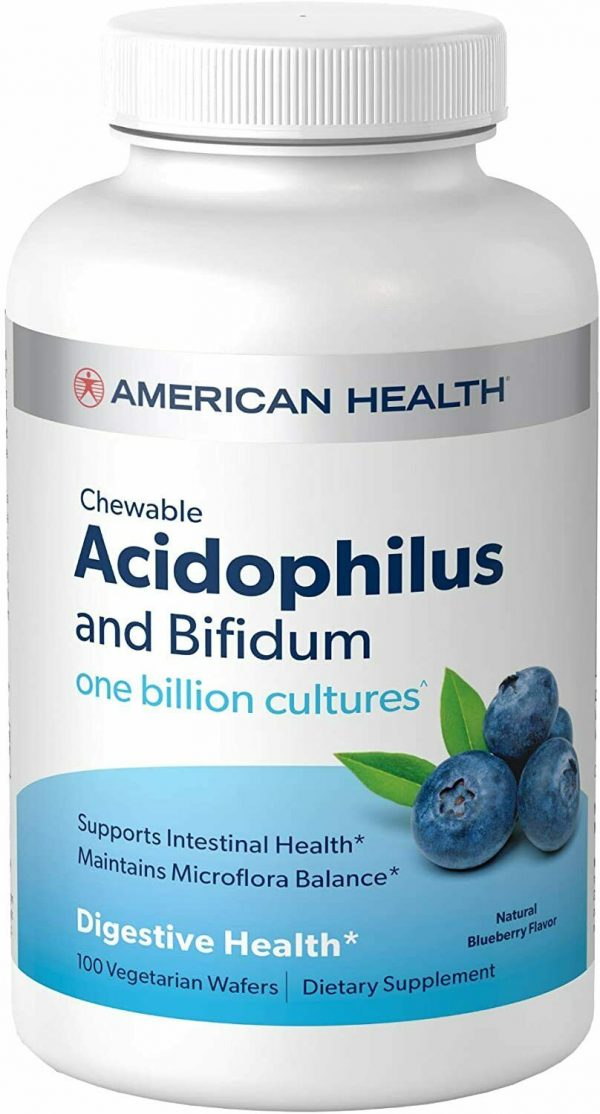 American Health Chewable Acidophilus and Bifidum, Natural Blueberry Wafers 100