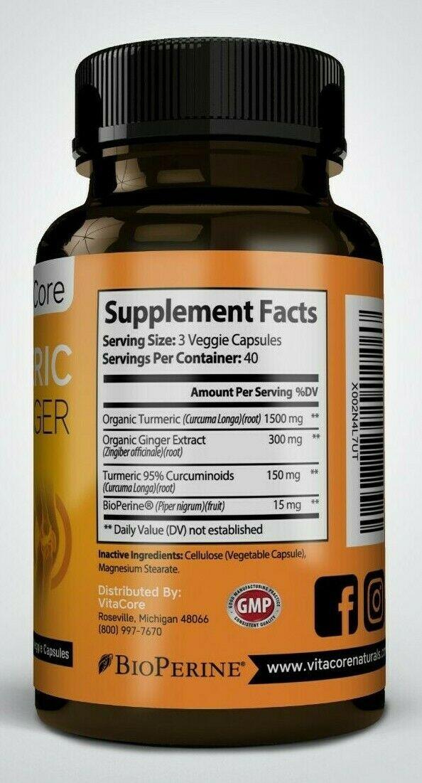 Turmeric Curcumin Ginger, 1950mg , with Bioperine 95% Curcuminoids , 120 capsule 2