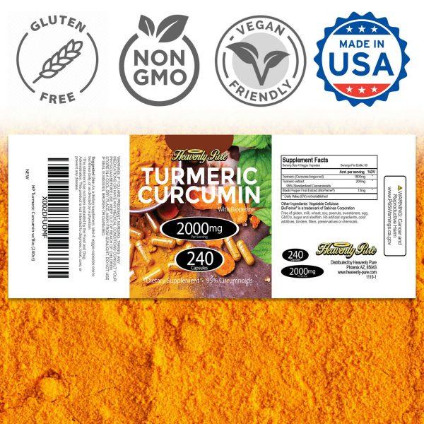 Turmeric Curcumin 2000 mg High Absorption Extra Strength Vegan Capsules 240 Ct 3