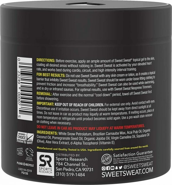 SWEET SWEAT JAR (UNSCENTED) 13.5oz Workout Enhancer Gel by Sports Research 1