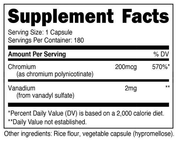 Nutricost Vanadium + Chromium 2mg 180 Vegetarian Capsules 1