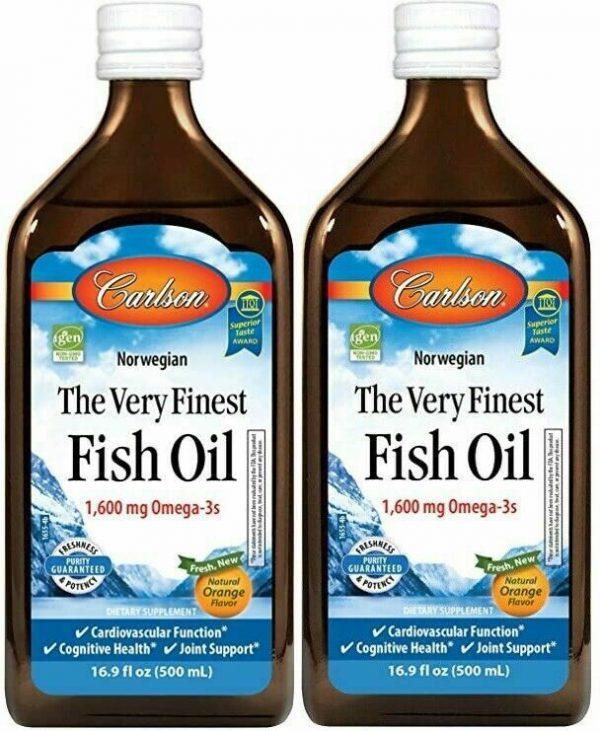 Carlson Omega-3 Norwegian Fish Oil EPA&DHA Lemon/Orange 16.9 oz Double Pack 1