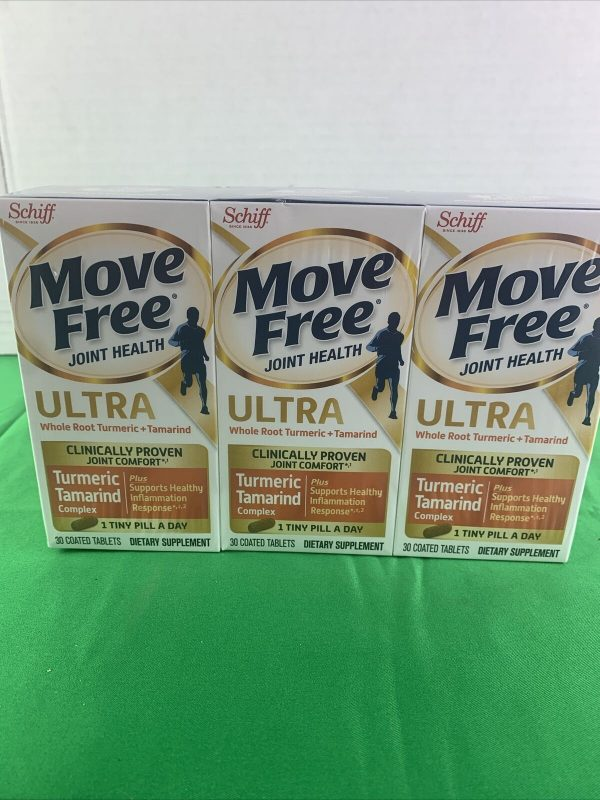 3PK Move Free Joint Health Ultra Turmeric & Tamarind 30 Coated Tablets EXP 3/22 2