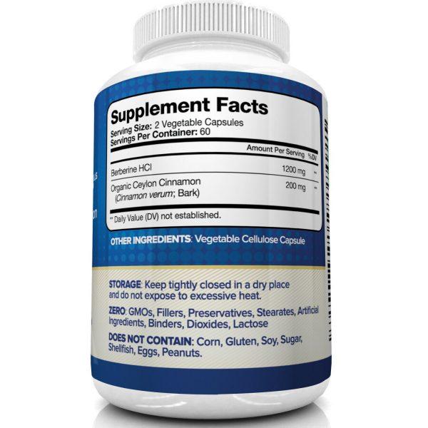 Nutrivein Premium Berberine HCL 1200mg Plus Organic Ceylon Cinnamon - 120 Pills 4