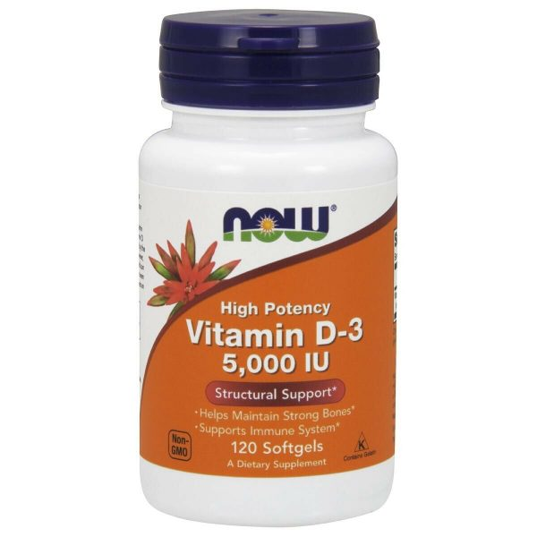 NOW High Potency Vitamin D-3 5000 IU 120 Softgels Structural Support Made In USA