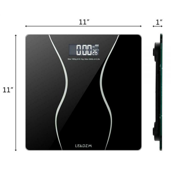 400lb Backlit LCD Digital Bathroom Body Weight Scale Tempered Glass + Batteries 2