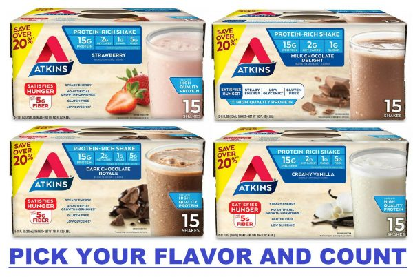Atkins Shake, Milk Chocolate Delight, Dark Chocolate, Vanilla, Strawberry 15 ct.