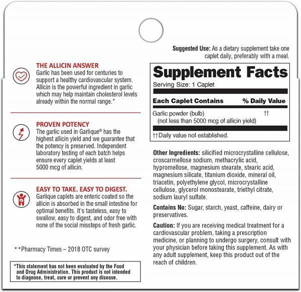 Garlique Healthy Cholesterol Formula With 5000 mcg of Allicin 60 ct Odor Free 1