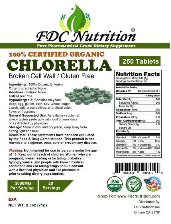 Organic Chlorella Tablets Broken Cell 3000mg Per Serving, 250 Tablets  3