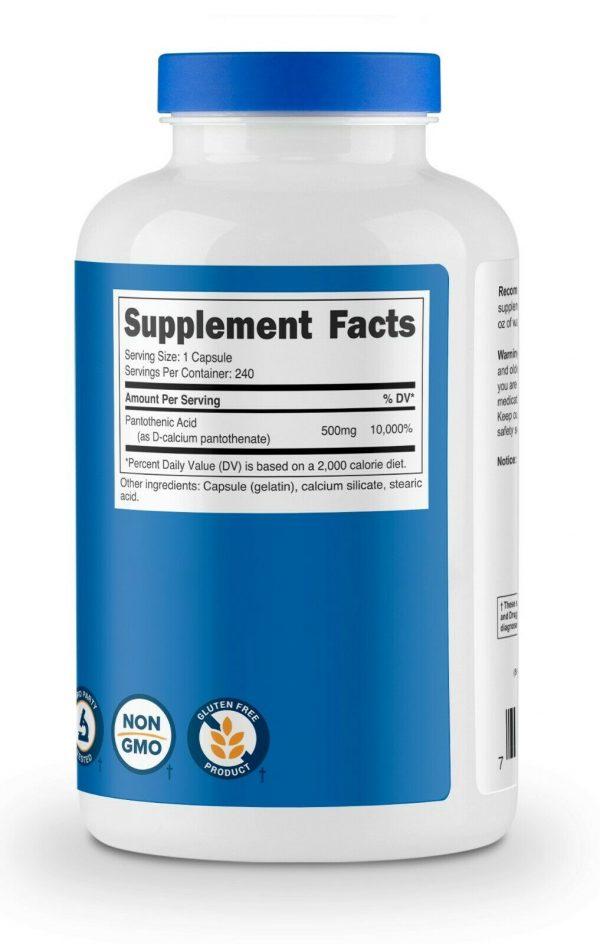 Nutricost Pantothenic Acid (Vitamin B5) 500mg, 240 Capsules - High Quality 5