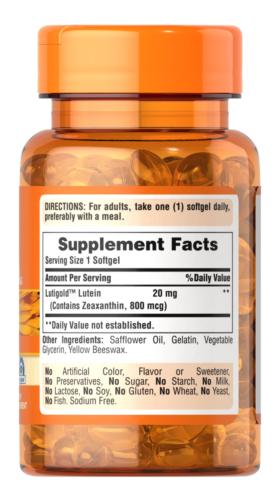 Puritan's Lutigold Lutein 20 mg 120 Softgels with Zeaxanthin Supports Eye Health 1