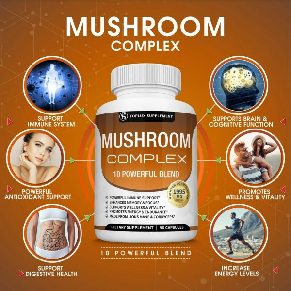 Mushroom Complex Supplement (2 Pack) +10 Mushrooms Lions Mane Reishi Pills 2